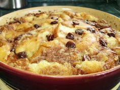 Chocolate Chip Bread Pudding ~ 	  An easy, yet scrumptious bread pudding. Use up your leftover rolls...