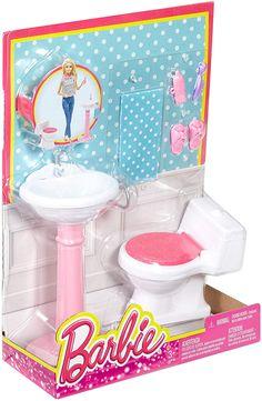 Barbie Dream Bathroom Playset in Dolls. Barbie Doll Accessories, Doll Clothes Barbie, Barbie Doll House, Barbie Toys, Barbie I, Barbie Dream, Vintage Barbie Dolls, Barbie And Ken, Barbie Bathroom