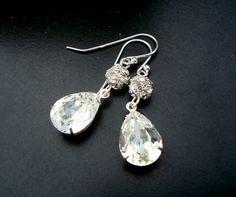 Bridal Wedding Earrings,Swarovski Crystal,Statement Bridal Earrings,Wedding Crystal Earrings,Bridal Jewelry,Vintage Jewelry,Bride,ARIA