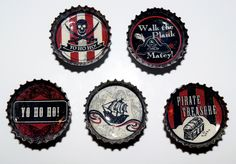 Pirate Bottle Cap Magnet Set of 5 by thumbprintz on Etsy