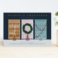 """""""My City"""" - Customizable Holiday Cards in White by Jennifer Lew. Michael Christmas, Christmas And New Year, Christmas Holidays, Living In San Francisco, Fun Illustration, Photo Layouts, Holiday Photo Cards, Vintage Holiday, Color Themes"""