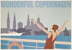 Plakat af Peter Kjær-Andersen. Kan købes hos Plakatforretningen.dk! Vintage Images, Vintage Posters, Danish People, Line Drawing, Copenhagen, Graphic Design, The Originals, History, Drawings