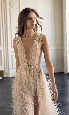 eisen stein 2018 bridal sleeveless deep v neck full embellishment high slit fringe skirt romantic soft a line wedding dress sweep train (11) zv