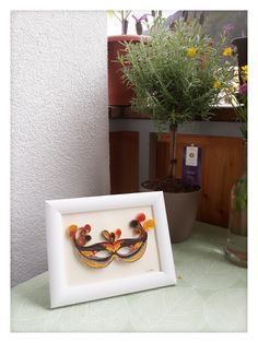 Inspired from my trip in Venice  last year! Quilling art mask orange,brown.  Gift for any occasion and for everyone Quilling Art, Orange Brown, Venice, Planter Pots, Inspired, Paper, Gifts, Inspiration, Ideas