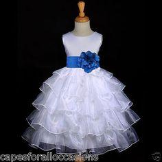 flower girl dresses white an royal blue | White Royal Blue Organza Tiered Satin Sash Flower Girl Dress 2 2T 4 5T ...