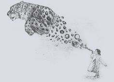 Cool drawing idea! A girl blows bubbles, and they turn into the spots of a Snow Leopard!