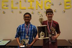 Submitted/Pictured from left is eighth grade runner-up Mohaymenul Islam and Aidan Himley, sixth grade champion.
