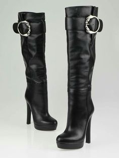 f57043f17 Authentic Gucci Black Leather Round Horse-Heads Tall High Heel Platform Boots  Size at Yoogi's Closet.
