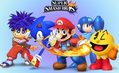 5 Mascots For Super Smash Bros. for 3DS/Wii U.  Goemon should be with Mario, Sonic, Mega Man, and Pac-Man!  He's like the Mario of Konami, he appeared in a arcade as well.