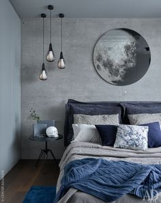 a chic grey and navy bedding set plus a blue rug enliven the grey bedroom Home . a chic grey and navy bedding set plus a blue rug enliven the grey bedroom Home Decoraiton a chic grey and navy bedding set plus a blue rug enliven the grey bedroom Blue Bedroom Decor, Home Bedroom, Modern Bedroom, Bedroom Furniture, Blue Gray Bedroom, Bedroom Neutral, Trendy Bedroom, Navy Blue Bedrooms, Grey Bedroom With Pop Of Color