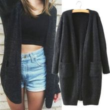 Women Sweater Long Cardigan 2016 Fashion Autumn Winter Style Long Sleeve Loose Thick Knitted Cardigan female Sweaters Long Coat(China)