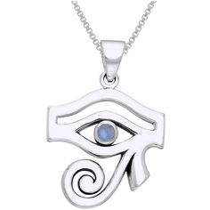 Carolina Glamour Collection CGC Sterling Silver Egyptian Eye of Horus... ($50) ❤ liked on Polyvore featuring jewelry, pendants, necklaces, white, rainbow moonstone jewelry, sterling silver pendant, rainbow jewelry, rainbow moonstone pendant and egyptian jewellery