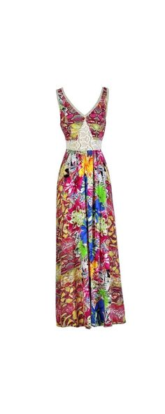 Exotic Brights Printed Maxi Dress  www.lilyboutique.com