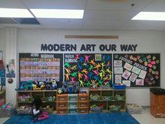 Modern Art bulletin board art by kids in-aftershool program