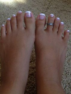 43 best french manicure toes images in 2019 French Toe Nails, French Tip Pedicure, French Manicure Toes, French Toes, Pink Toe Nails, French Pedicure Designs, Pretty Toe Nails, Cute Toe Nails, Toe Nail Color