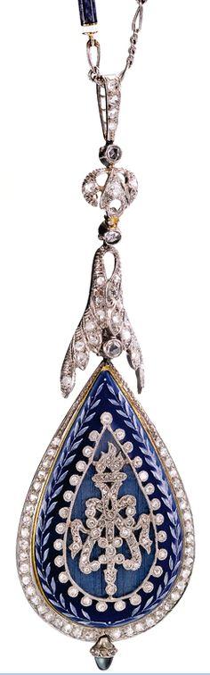 FRENCH ENAMEL AND DIAMOND-SET PENDANT WATCH CIRCA 1910 •