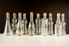 Decorative Clear Glass Bottles with Corks 5 tall Set by ThirdShift