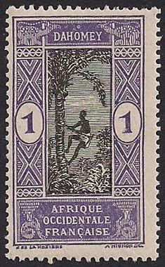 Estampilla Dahomey, 1913 - Hombre escalando una palmera