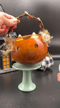 Super cute Halloween kitty lighted basket. Halloween Gift Baskets, Cute Halloween Decorations, Whimsical Halloween, Halloween Party Themes, Halloween Home Decor, Halloween Gifts, Halloween House, Halloween Ideas, Halloween Gourds