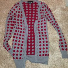 Cute Grey and Red Polka Dotted Cardigan Great red and grey polka dotted cardigan, it's very warm and is long enough to be worn with leggings!! It's very versatile, looks good with black pants, jeans and a cute white scarf!! It has only been worn once, so it is in perfect condition! Forever 21 Sweaters Cardigans