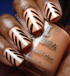 Tribal Peach Nail Design