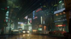 ArtStation - Main Street Environment - Beyond Human , Sergei Panin Human Base, High Tech Low Life, Sci Fi Environment, Futuristic City, Alternate History, Unreal Engine, Night City, Shadowrun, Award Winner
