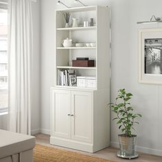 HAVSTA Storage combination, white, 31 Display your favorite items on open shelves – and keep the others organized and hidden. Carefully designed details in solid wood with a brushed surface give the furniture a timeless and genuine feel. Shelving Unit, Ikea, Furniture, Bookcase, Tall Cabinet Storage, Movable Shelf, Storage, Cabinet, Cabinet Doors