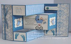 Stamps 'n Jewels: Happy New Baby Trifold Shutter Baby Boy Cards, New Baby Cards, Baby Shower Cards, Tri Fold Cards, Fancy Fold Cards, Folded Cards, 3d Cards, Cool Cards, Trifold Shutter Cards