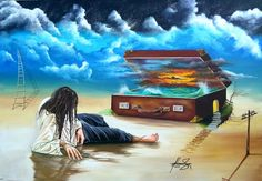 """Castaway from memories"" -Oil on canvas.  Mihai Adrian Raceanu, Painter from Romania #art #painter #painting #surrealism"