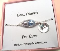 Best Friends Card With Sterling Silver Peapod by Kikiburrabeads, $28.50