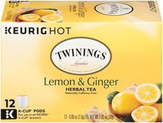 Twinings Lemon and Ginger Herbal Tea Keurig KCups 12 Count *** Want to know more, click on the image. Note: It's an affiliate link to Amazon.