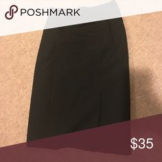 Sexy black pencil skirt This skirt is so sexy ... brand new never worn .... has a featured belt in the front and is high waisted ... also has a sexy slit on the left side ... has a zipper in the back... says size ten but I also think it could fit an 8... not stretchy ! Worthington Skirts Pencil