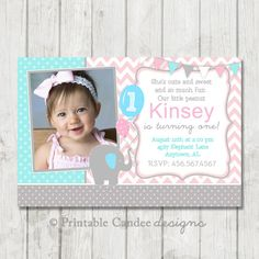 This listing is for a Little Peanut Elephant Birthday Invitation  **Please read this entire listing and do not purchase yet. I do not print or