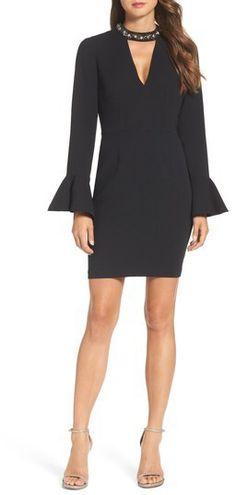 Women's Vince Camuto Crystal Choker Bell Sleeve Sheath Dress