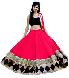 Buy Pink georgette embroidered  unstitched lehenga choli ghagra-choli online