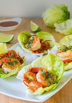 Refreshing lettuce cups filled with shrimp—mixed with Laura Vitale's spicy, citrusy take on cocktail sauce—make a fantastic light lunch or dinner.