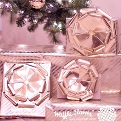 DIY Gold Gift Boxes from @waffleflower | Learn how to create your own giftwrap. #giftwrapping #giftwrap