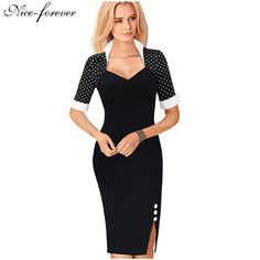 Nice forever lunares mujeres elegantes botones patchwork vaina de cuello cuadrado dress negocios usar para trabajar partido vestidos del lápiz b47 en Vestidos de Ropa y Accesorios de las mujeres en AliExpress.com | Alibaba Group