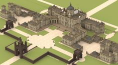Castle Howard as designed by Vanbrugh, 1699. From Vitruvius Britannicus. SU render on Sketchucation.