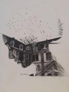 """Home of Memories,"" original portrait drawing by artist Derya Qasem (Turkey) available at Saatchi Art. #SaatchiArt"