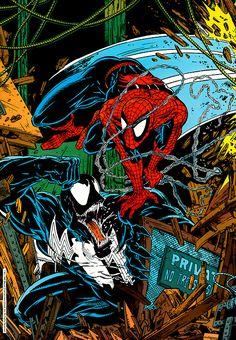 Spider-Man vs Venom by Todd McFarlane. Always liked spiderman with really big white eyes