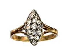1880-90s Victorian Marquise Shaped Old Mine Cut Diamond Cluster Ring: Erie Basin Antiques