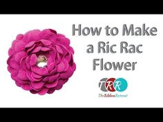 How to Make a Ric Rac Flower Video Hair Bow Tutorial, Flower Tutorial, Rick Rack Flowers, Sewing Crafts, Sewing Projects, Fabric Crafts, Sewing Ideas, Flower Video, Diy Hair Bows