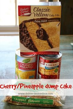 Cherry Pineapple Dump Cake: Apologies to anyone who has repinned this...I loved the fact that all the ingredients shown were from Aldi's, but this is only an OK dessert. It certainly can't be beat for being easy to make and good in a pinch, but there are many other options out there more tasty than this.