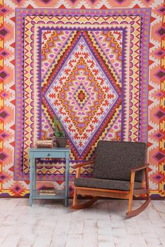 Urban Outfitters Diamond Medallion Tapestry - better than pait/wallpaper, no commitment.