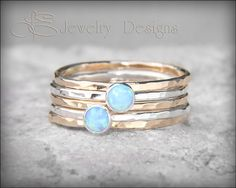 5 RING OPAL SET Solid Sterling Silver opal by LEJewelryDesigns