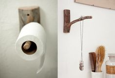 These Branch Wall Hooks in the bathroom:as a toilet roll holder or to hang jill platner jewelry. Ideas Baños, Wood Hooks, Live Wire, Toilet Roll Holder, Rustic Interiors, Tree Branches, Home Accessories, Design Inspiration, Daily Inspiration