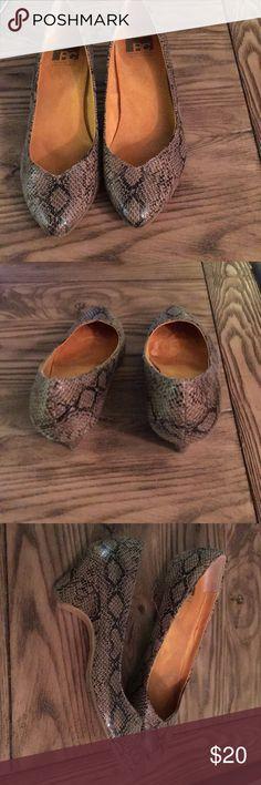 BC Footwear Brown snake skin heels Very short and comfortable heel. Good condition. Brown snake skin print. BC Footwear Shoes Heels