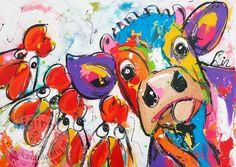 in dit schilderij is gebruik gemaakt felle kleuren