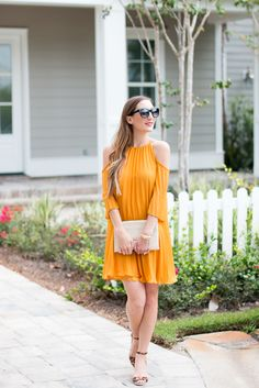Marigold Pleated Dress